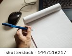 left handed man writing on... | Shutterstock . vector #1447516217