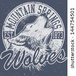 vector one color retro howling... | Shutterstock .eps vector #144754501