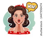 funny pop art vector portrait... | Shutterstock .eps vector #1447550474