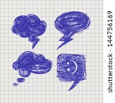 set of vector chat bubbles in... | Shutterstock .eps vector #144756169