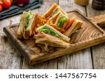 Stock photo club sandwich with ham on the board 1447567754