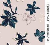 magnolia floral pattern modern... | Shutterstock .eps vector #1447588067
