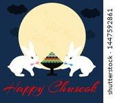 happy chuseok in cartoon style...
