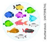 vector colorful cartoon fish in ... | Shutterstock .eps vector #1447598741