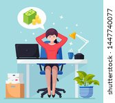 business woman is relaxing and... | Shutterstock .eps vector #1447740077