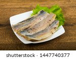 Stock photo herring fillet with pepper with salad 1447740377