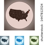 vector map of the massachusetts | Shutterstock .eps vector #1447812524