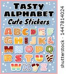 set of tasty alphabet stickers. ... | Shutterstock .eps vector #1447814024
