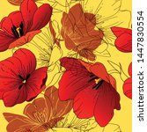 seamless pattern with blooming... | Shutterstock .eps vector #1447830554