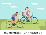 happy family riding bikes... | Shutterstock .eps vector #1447830584