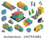 isolated and isometric garbage... | Shutterstock .eps vector #1447941881