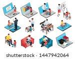 isometric family homeschooling... | Shutterstock .eps vector #1447942064