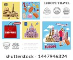 europe travel colorful... | Shutterstock .eps vector #1447946324