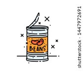 canned beans line icon. baked... | Shutterstock .eps vector #1447972691