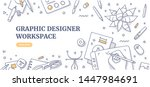 creative designer desk with... | Shutterstock .eps vector #1447984691