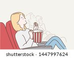 a young woman is watching a...   Shutterstock .eps vector #1447997624