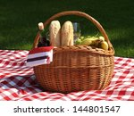 basket prepared for the picnic... | Shutterstock . vector #144801547
