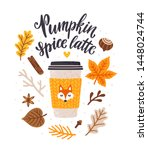 Vector Autumn Card With Coffee...