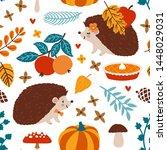 vector autumn seamless pattern... | Shutterstock .eps vector #1448029031