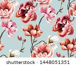 pattern with big peony  bright... | Shutterstock .eps vector #1448051351