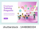 men and woman working with... | Shutterstock .eps vector #1448080334
