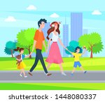 parents and children spend time ... | Shutterstock .eps vector #1448080337