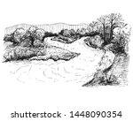 detailed hand drawn ink black... | Shutterstock .eps vector #1448090354