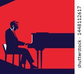 Man Playing Piano Silhouette....