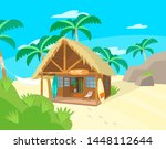 Vector illustration of wooden hut on tropical iseland. Surfer beach hut. Surf boards. Hammock palm trees.
