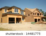 New homes under construction - stock photo