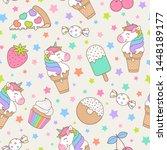 cute unicorn and dessert... | Shutterstock .eps vector #1448189177