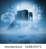 servers on earth with matrix | Shutterstock . vector #144819271