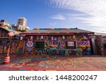 Small photo of Taichung, Taiwan - 4 Mar 2019: Rainbow Village in Taichung, Taiwan. Rainbow Village is a small village with colorful painting and is a very famous travel location in Taiwan