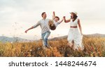 happy family father of mother... | Shutterstock . vector #1448244674