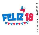 feliz 18 de septiembre  spanish ... | Shutterstock .eps vector #1448253017