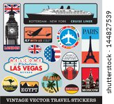 Stock vector vector images of vintage travel stickers 144827539