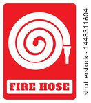 fire hose reel icon on red... | Shutterstock .eps vector #1448311604