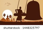 monk hit bell in the morning to ... | Shutterstock .eps vector #1448325797