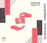 receiving money banknotes stack ...   Shutterstock .eps vector #1448339297