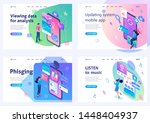 set isometric landing pages ... | Shutterstock .eps vector #1448404937