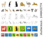 different animals cartoon icons ... | Shutterstock . vector #1448423774