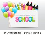welcome back to school banner.... | Shutterstock .eps vector #1448440451