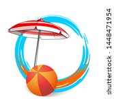 decorative round summer frame... | Shutterstock .eps vector #1448471954