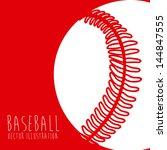 baseball league over red...   Shutterstock .eps vector #144847555