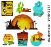 Vector Set Of Summer Beach Signs