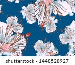 bold floral print. big jungle... | Shutterstock . vector #1448528927