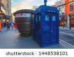 Small photo of London, UK - May 19 2018: A blue police box is a public telephone kiosk or callbox for the use of members of the police, the box located at earl's Court station