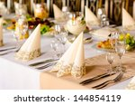 luxury table setting at a...   Shutterstock . vector #144854119