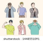 handsome and stylish boy... | Shutterstock .eps vector #1448551091