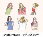 pretty and stylish girl...   Shutterstock .eps vector #1448551094